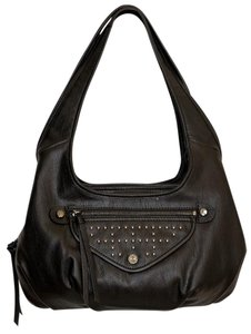 Simply Vera Vera Wang Faux Leather Tripple Top Entry Satchel in Plaid Black Studded