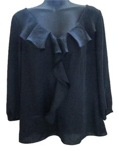 Talbots Luxe Ruffled Formal Evening Top Black