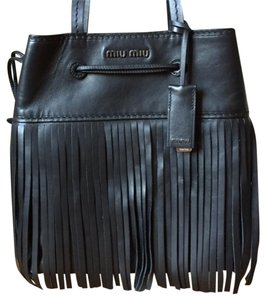 Miu Miu Leather Fringe Tote in Black