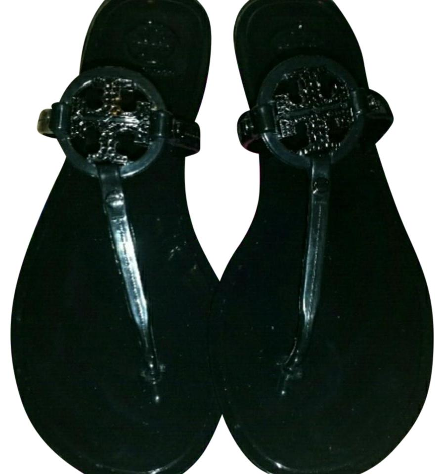 5f63a29cdacc Tory Burch Black Mini Miller Jelly Thong with Crystals Sandals Size ...