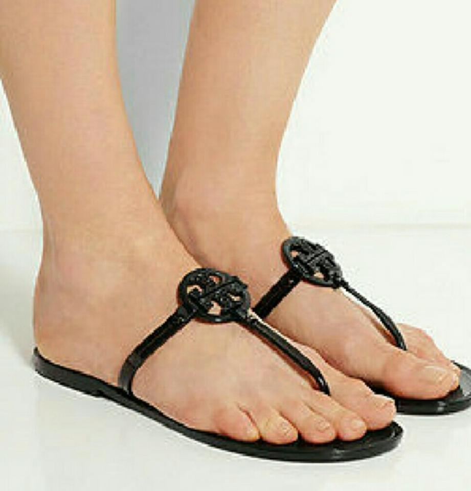 64c317c63d7f Tory Burch Black Mini Miller Jelly Thong with Crystals Sandals Size ...
