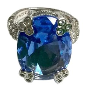 Judith Ripka Blue Quartz and Sapphire Cocktail Ring