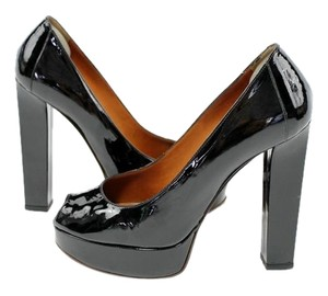 Lanvin Platform Peep Toe Patent Leather Black Pumps