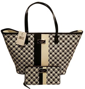 Kate Spade Monogram Magenta Tote in Black & White