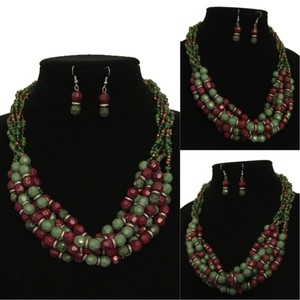 Other Green & Brown Multicolor Layered Beaded Statement Necklace And Earring Set