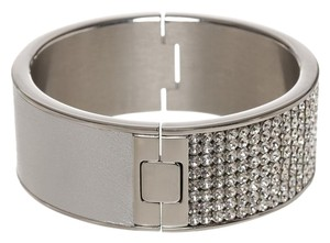 Swarovski Swarovski Silver Metallic Leather and Jeweled Cuff Bracelet
