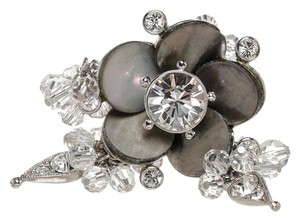 Dior Dior Silver and Gray Crystal Embellished Flower Ring (Size 7)