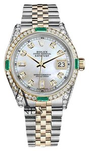 Rolex Women's Rolex Steel&Gold 31mm Datejust Watch White MOP 8+2 Emerald Diamond Dial