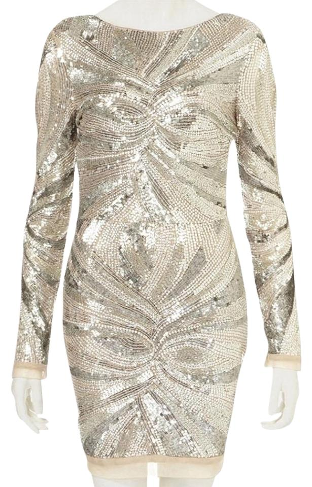 4edeacab Topshop Silver Beaded Longsleeve Limited Edition Scoop Back Sequin ...