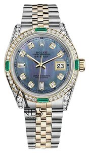Rolex Ladies Rolex Steel&Gold 26mm Datejust Tahitian MOP Emerald Diamond