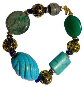 Other New Turquoise & Gemstone Bracelet Gold Tone J2714