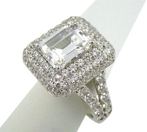 Jean Dousset Jean Dousset 6.32ct Absolute Emerald-Cut and Pave' Frame Ring - Size 8