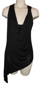 Haute Hippie Knit Asymmetric Cowl Neck Low Cut Sexy Top black