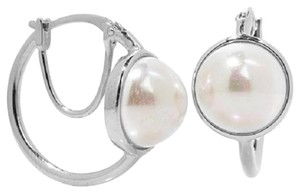 Majorica Majorica 10mm Manmade Organic White Mabe Pearl Hoop Earrings