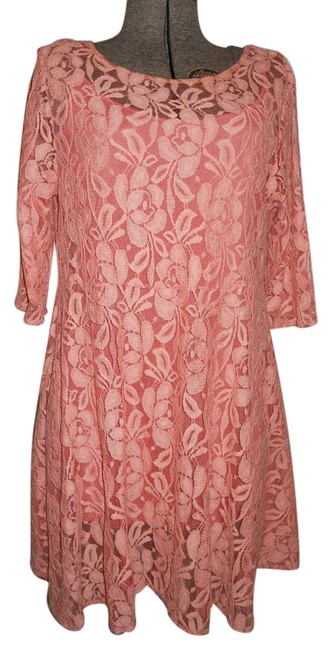 Item - Peach Sheer Lace Above Knee Night Out Dress Size 12 (L)