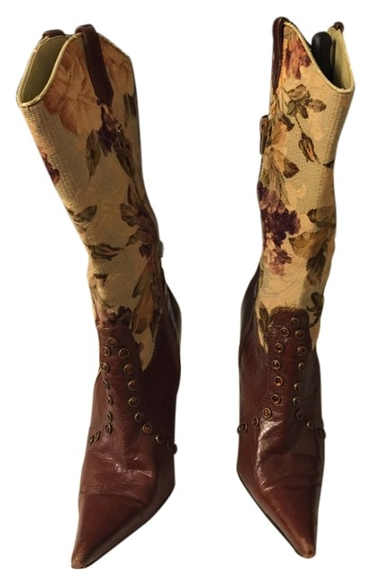 Item - Floral Burgundy Studded Boots/Booties Size US 6 Regular (M, B)