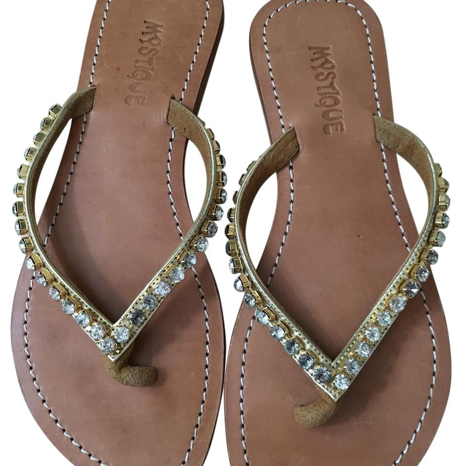 25d672f53d8ba6 Mystique Boutique Gold and Rhinestones Sandals Size US 7 Regular (M ...