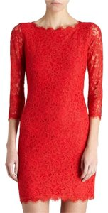 Diane von Furstenberg Dvf Red Red Lace Zarita Lace Dress
