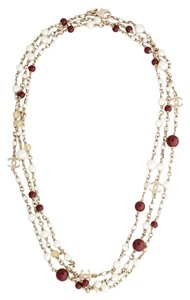 Chanel Chanel Bead and Pearl Strand Necklace (Gold/Pearl/Burgundy) - 2015 Collection