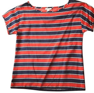 J.Crew T Shirt Navy, white and orange striped