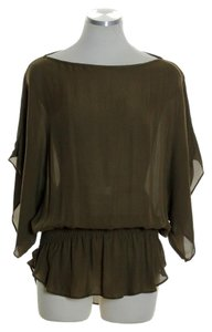 Parker Silk Smocked Waist Top Olive Green