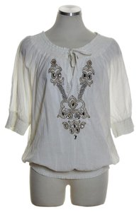 Boston Proper Smocked Beaded 3/4 Sleeve Top Ivory
