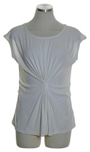 Lafayette 148 New York Jersey Silk Gather Cap Sleeve Top Ivory