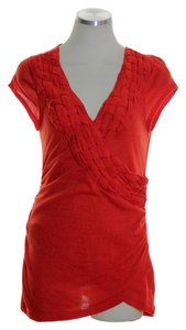 Anthropologie Knit Stretch Cross Over Top Orange