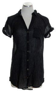 Hei Hei Tunic Crinkle Button Down Gauze Top Black
