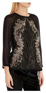 Ted Baker 3/4 Sleeve Gold Embroidered Top Black
