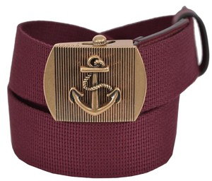 Gucci New Gucci Men's 375191 Burgundy Cotton Military Anchor Brass Buckle Belt 34 85