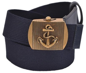 Gucci New Gucci Men's 375191 Blue Cotton Military Anchor Brass Buckle Belt 38 95