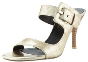Donald J. Pliner Silver Gold Wood Buckle Mushroom Pumps