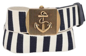Gucci New Gucci Men's 375191 STRIPED Cotton Military Anchor Brass Buckle Belt 38 95