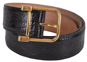Gucci New Gucci Women's 257319 Black Caiman Alligator Logo Buckle Belt 38 95