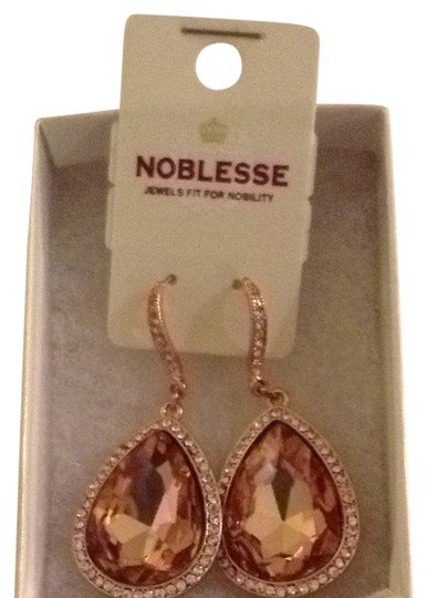 Noblesse Rose Gold Jeweled Drop Earrings