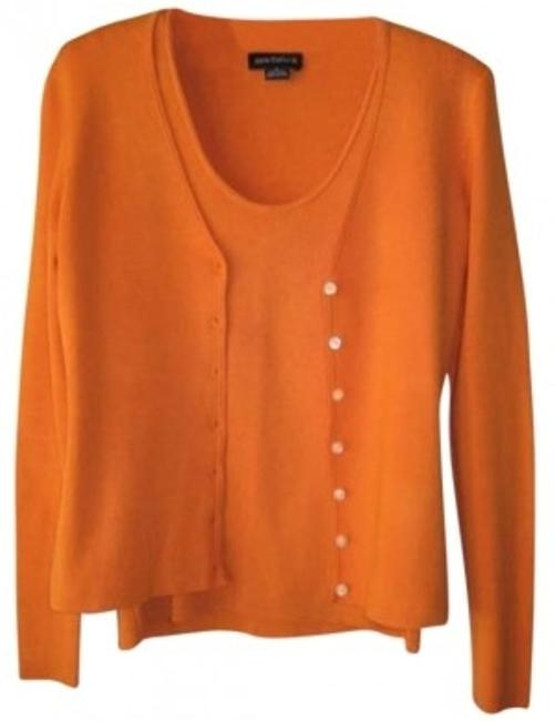 Preload https://item5.tradesy.com/images/ann-taylor-orange-silk-blend-v-neck-cardigan-scoop-neck-tank-sweaterpullover-size-2-xs-168734-0-0.jpg?width=400&height=650