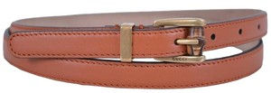 Gucci New Gucci Women's 339065 Cognac Brown Leather Skinny Bamboo Buckle Belt 40 100