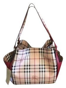 Burberry Leather Red Haymarket Tote in Check