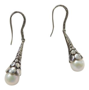 John Hardy John Hardy Dot Sterling Siver and Pearl Drop Dangle Earrings