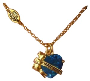 Juicy Couture Auth Juicy Couture Blue Heart Banner Necklace