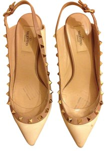 Valentino Rockstuds Cream and Beige Pumps