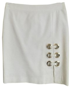 Versace Pencil Grommets Skirt White