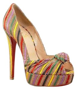 Christian Louboutin Striped Satin Sexy Date Night multi Pumps