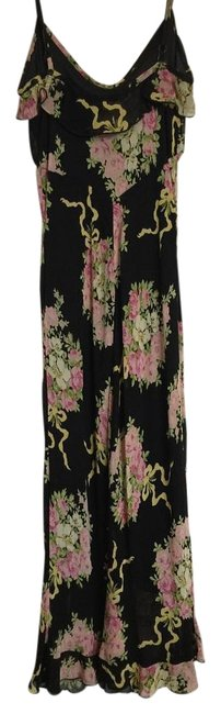 Item - Multi-color Slip Rose Floral Print Long Short Casual Dress Size Petite 2 (XS)