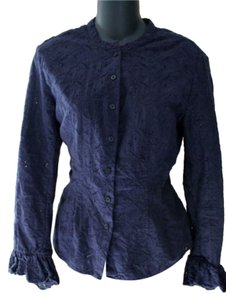 Lauren Ralph Lauren Ruffle Button Down Shirt Navy