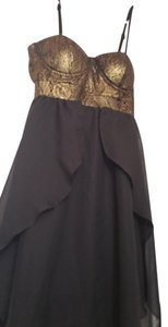 Material Girl Bustier Gold Black Night Out Dress