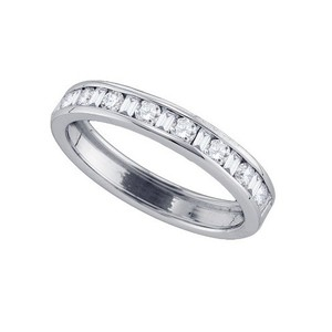 Ladies Luxury Designer 14k White Gold 0.50 Cttw Diamond Accu Set Fashion Wedding Band