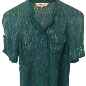 Trina Turk Button Down Shirt Teal, Gold, Aqua