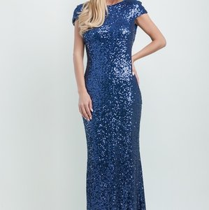 Badgley Mischka Slate Blue Dress